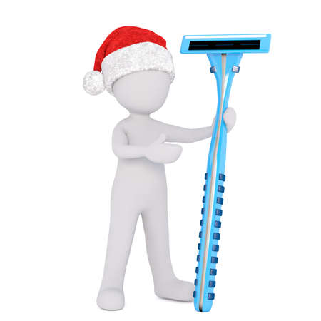 depilate: 3d man wearing a red Christmas hat standing holding a colorful blue razor for shaving his facial or body hair, isolated rendered illustration on white