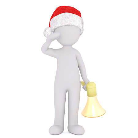 3d man wearing a red Santa hat holding a bullhorn in one hand standing saluting in a concept of public speaking or protest, rendered illustration on white