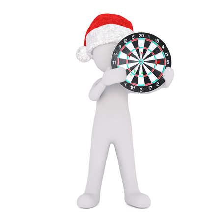 dart board: Festive 3d man in a Santa hat holding a dart board target up in his hands conceptual of business goals, aspirations and accuracy, isolated 3d rendered cartoon illustration on white