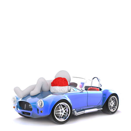 bonnet: 3d man relaxing on the bonnet of his sports car with a red Christmas Santa hat alongside him, rendered illustration on white