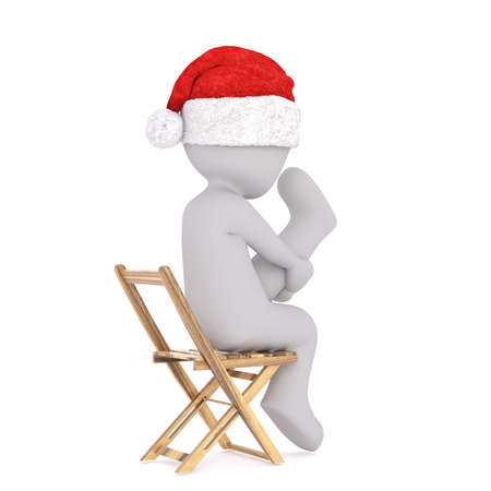 Side view of 3d toon figure on wooden chair stretching leg upwards, white background