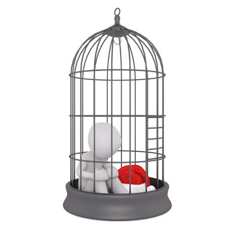 Captive 3d toon figure with Santa hat sat in bird cage on white