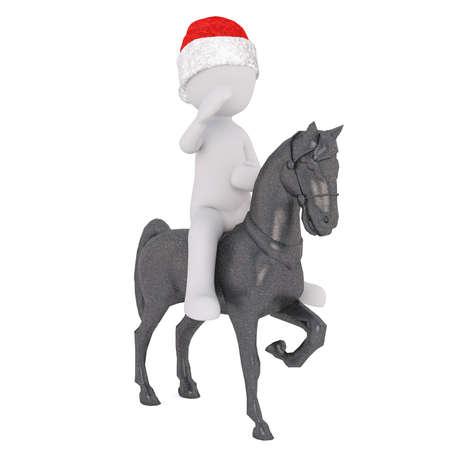 uomo a cavallo: cavaliere 3D o soldato in un cappello di saluto di Natale mentre cavalca un cavallo rampante, isolato illustrazione di rendering su bianco Archivio Fotografico