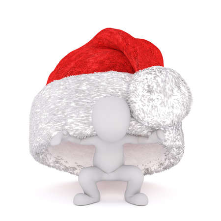 Fun little 3d man hiding under a colorful bright red Christmas hat as he celebrates the holiday season, isolated 3d rendered cartoon illustration on white