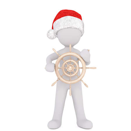 yachting: 3d man or sailor in a santa hat holding a nautical ships wheel in his hand conceptual of boating, yachting or a voyage, rendered illustration on white