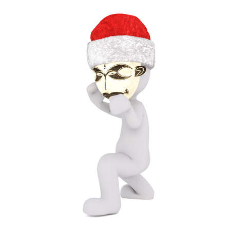 pugilist: Boxing 3D figure wearing gold tribal mask take a fighting stance against a white background