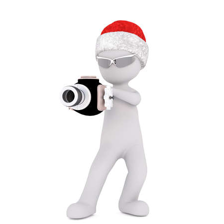 3d toon figure in Santa hat with shades and ray gun on white