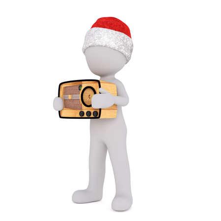 transistor: Todo el cuerpo de 3D Toon en el sombrero de Santa con el transistor de radio retro sobre fondo blanco Foto de archivo