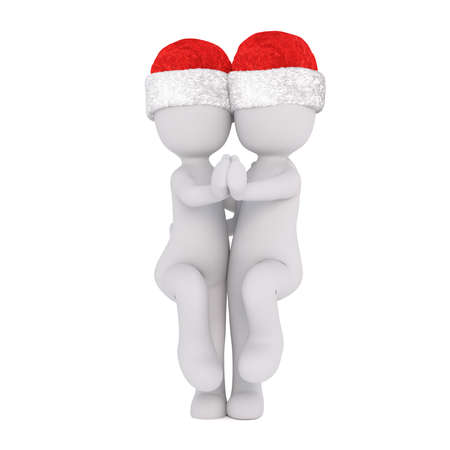 viewer: Cute 3d couple in Christmas hats ballroom dancing moving towards the viewer in a classic pose, rendered illustration