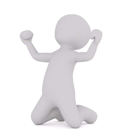 3d Rendering of Cartoon Figure on Knees Celebrating While Pumping Fists in Air in front of White Background