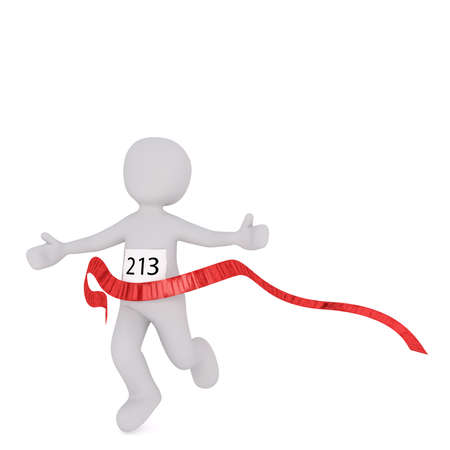 3d Rendering of Cartoon Figure Wearing Number 213 While Running Across Red Marathon Race Finish Line in front of White Background