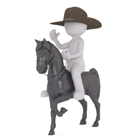 3D rendered figure sitting atop grey horse while wearing cowboy hat against a white background Stock Photo