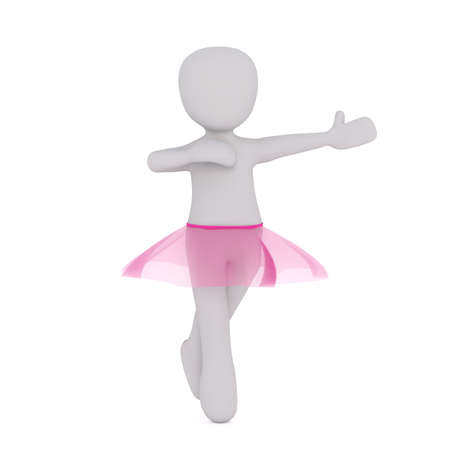 performing arts: 3d ballerina wearing pink tutu while dancing ballet isolated with copy space on white background Stock Photo