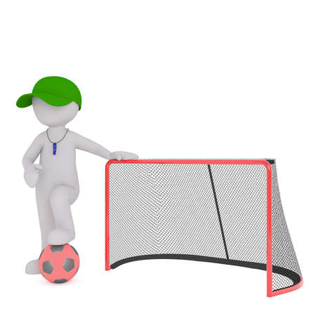 umpire: 3D rendered figure wearing whistle and green cap stands by goal and hold one soccer ball under foot Stock Photo