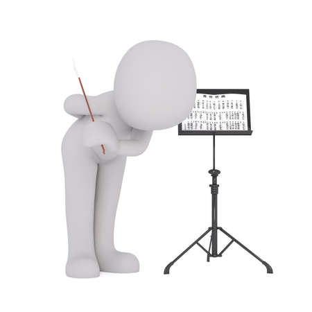 bowing: 3d Rendering of Cartoon Figure Holding Baton and Taking Bow Beside Stand with Sheet Music While Standing in front of White Background