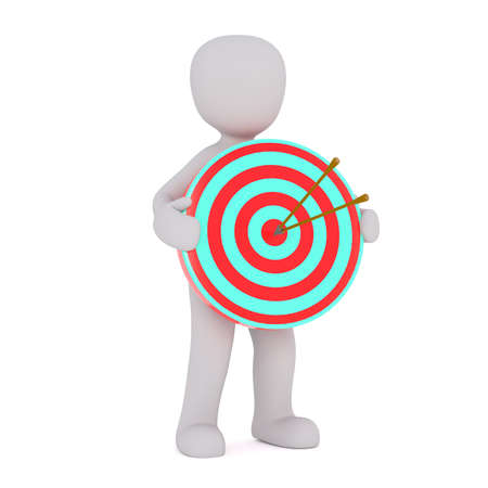 bull's eye: 3d Rendering of Cartoon Figure Holding Bulls Eye Target with Two Arrows in Center in front of White Background - Goal Concept Image
