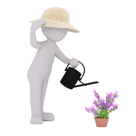 3d Rendering of Cartoon Figure Wearing Straw Hat and Watering Purple Potted Flower Using Black Watering Can in front of White Background