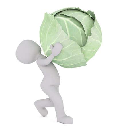흰색 배경 앞에 녹색 양배추의 크고 무거운 머리를 들고 만화 그림의 3d 렌더링 스톡 콘텐츠