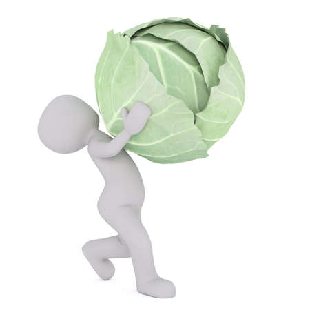 3d Rendering of Cartoon Figure Carrying Large and Heavy Head of Green Cabbage in front of White Background