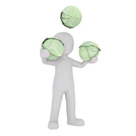 3d Rendering of Cartoon Figure Juggling Three Heads of Green Cabbage in front of White Background with Copy Space