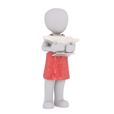 anvil: 3d Rendering of Cartoon Figure Wearing Red Apron and Holding Heavy Anvil While Standing in front of White Background with Copy Space