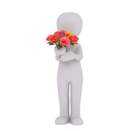 3d Rendering of Cartoon Figure Standing in front of White Background and Holding Bouquet of Colorful Roses