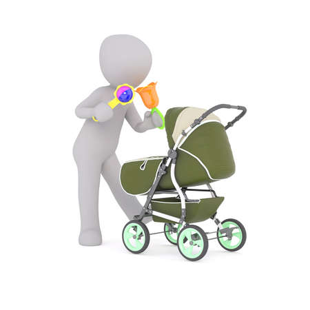 rattles: 3D figure holds two colorful baby rattles as he shakes them towards a green stroller
