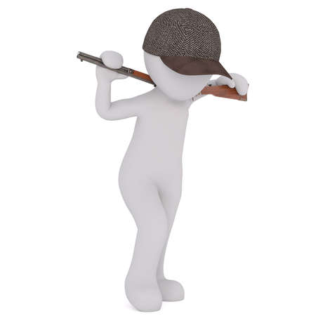 3d Rendering of Cartoon Figure Wearing Hunter Cap and Carrying Rifle Gun Over Shoulders While Walking Across White Background with Copy Space
