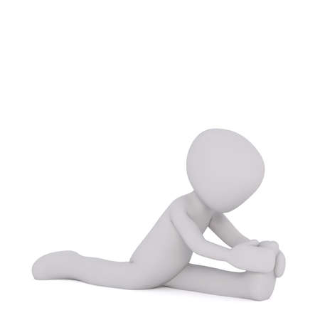 supple: 3d Rendering of Cartoon Figure Doing Splits and Stretching in front of White Background