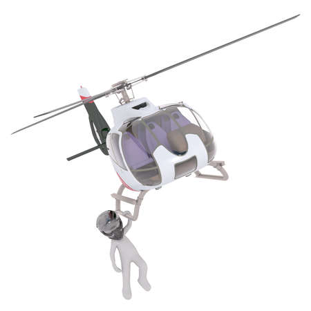 3D rendered figure hanging from unmanned helicopter while wearing helmet