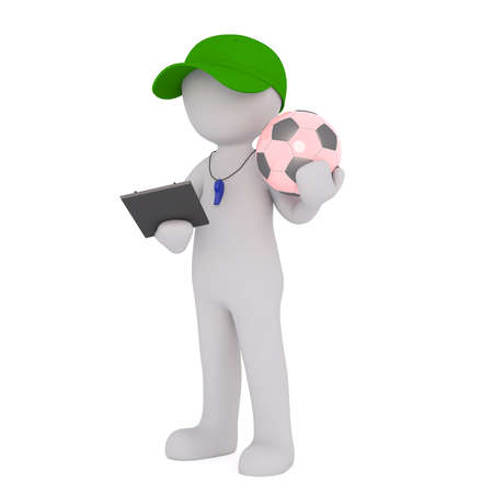 soccer coach: 3D rendered cartoon soccer coach stands with green cap and holds a ball in one hand and a clipboard in the other