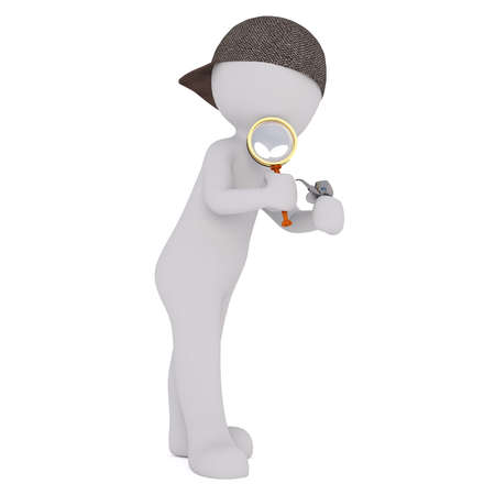 3d Rendering of Cartoon Figure Wearing Cap and Holding Pipe and Magnifying Glass in front of White Background with Copy Space