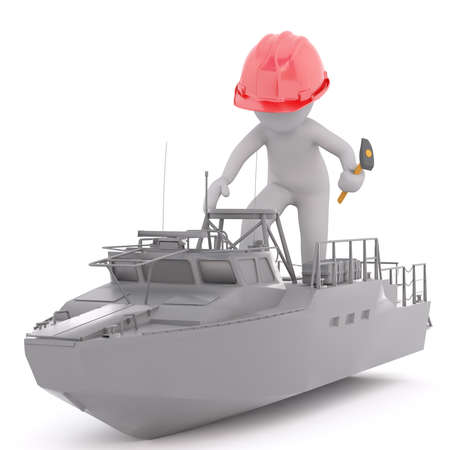3D rendering of figure with hammer and red hardhat climbing aboard a child sized trawler