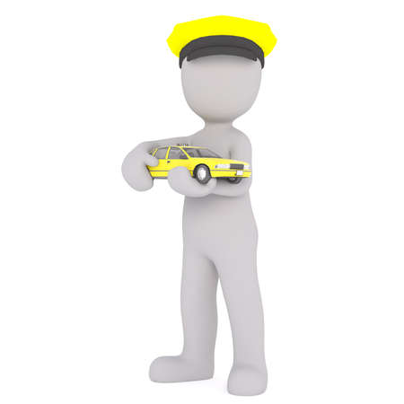 3D figure wearing yellow chauffeur hat holds toy taxi cab against a white background