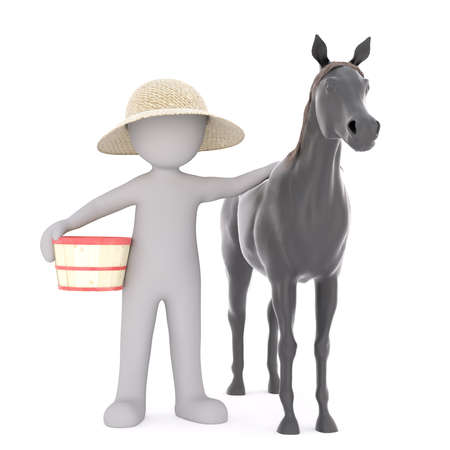 One 3D rendered figure wears straw hat and places hand on his black horse while holding basket Stock Photo