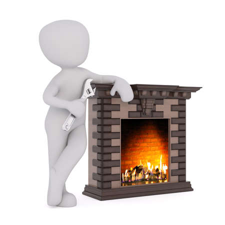 mantelpiece: 3D figure holds wrench and leans against fireplace as a warm fire rages inside Stock Photo