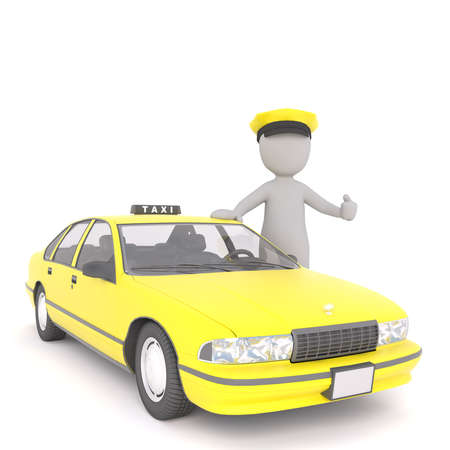 3D rendered figure wears yellow chauffeur cap and gives thumbs up while standing beside taxi cab Stock Photo