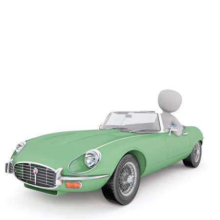 collectibles: 3d rendering of Cartoon Figure Sitting in Driver Seat of Classic Vintage Green Convertible Car Stock Photo
