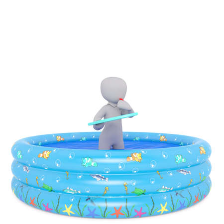 Solitary 3D rendered figure blows on a red whistle while holding clipboard and standing in round kiddie pool