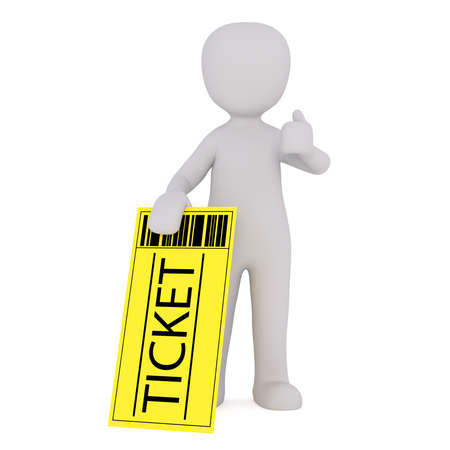 over sized: 3d Rendering of Cartoon Figure Holding Large Yellow Admission Ticket and Giving Thumbs Up Hand Gesture in front of White Background with Copy Space Stock Photo