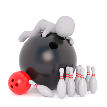 3d Rendering of Cartoon Figure Crawling on top of Large Black Bowling Ball Amidst Bowling Pins in front of White Background with Copy Space