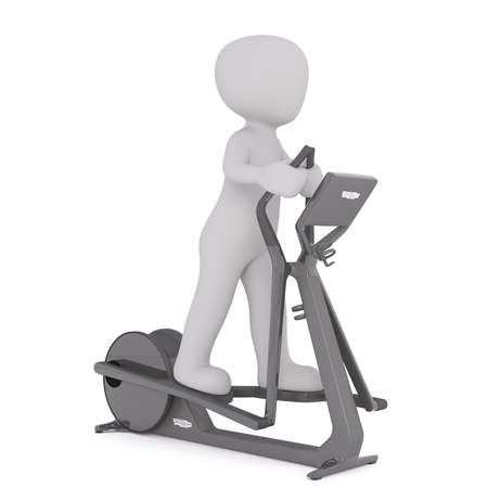 three quarter: Three quarter view on single 3D figure using elliptical exercise machine over white background Stock Photo
