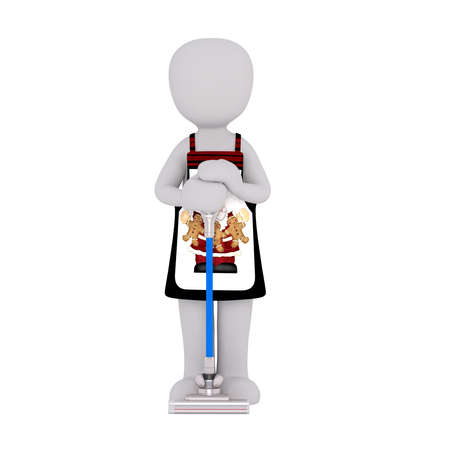 pinafore: 3d Rendering of Cartoon Figure Wearing Apron and Leaning Against Vacuum Cleaner in front of White Background with Copy Space Stock Photo