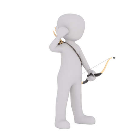 3d Rendering of Cartoon Figure Standing in front of White Background with Bow and Arrows Stock Photo