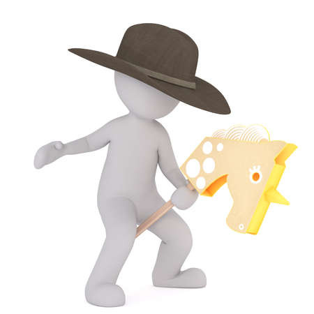 3D cartoon figure wears grey cowboy hat while riding a pretty wooden pony Stock Photo