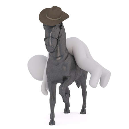 Passed out: 3D cartoon male figure passed out on his horse as it gallops and wears cowboy hat Stock Photo