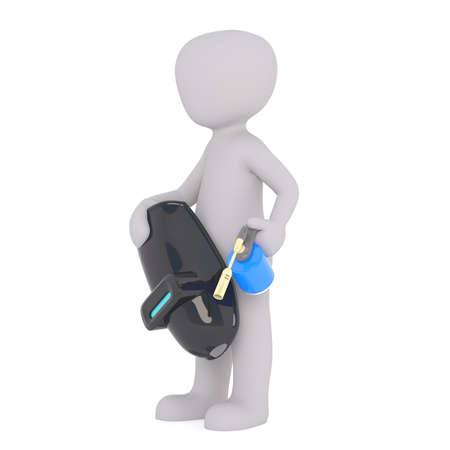 3d Rendering of Cartoon Figure Holding Safety Mask and Blow Torch in front of White Background with Copy Space