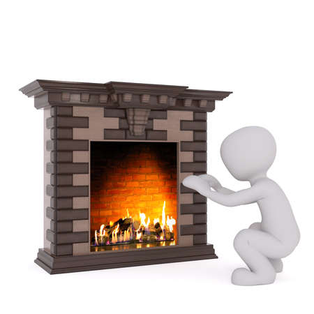 crouched: Squatting 3D rendered figure warms his hands at large lit fireplace against a white background Stock Photo