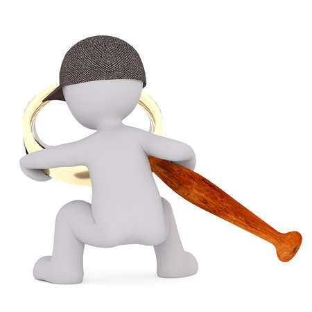 oversize: 3d Rendering of Rear View of Cartoon Figure Wearing Cap and Looking Through Oversize Magnifying Glass in front of White Background with Copy Space