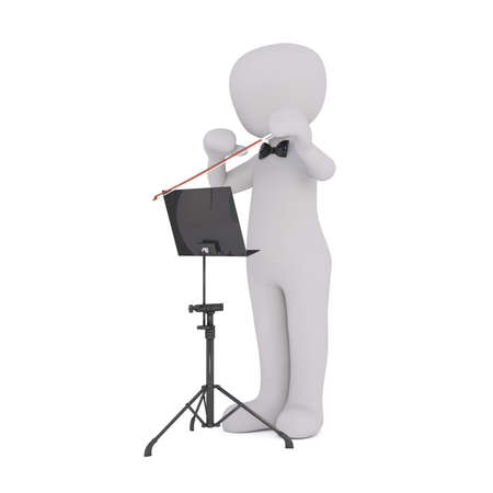 music stand: 3d Rendering of Cartoon Figure Wearing Bow Tie and Holding Baton While Standing in front of White Background at Music Stand